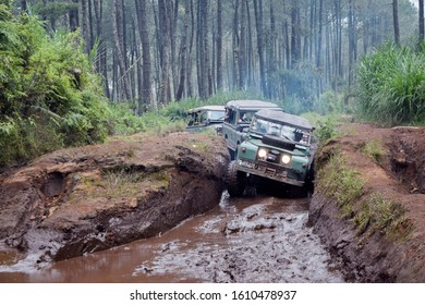 May 21, 2017. Bandung, West Java, Indonesia. Old Classic 4x4 Landrover Series Offroading in the Mud at Lembang, West Java, Indonesia