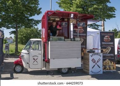 May 21, 2017 - Giussano (Italy) Traditional Italian street and foreign food festival with the presence of food trucks.