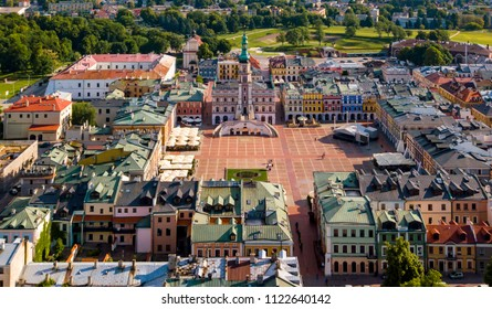 May 21, 2018; Poland, Zamosc: Great Market Square - aerial view