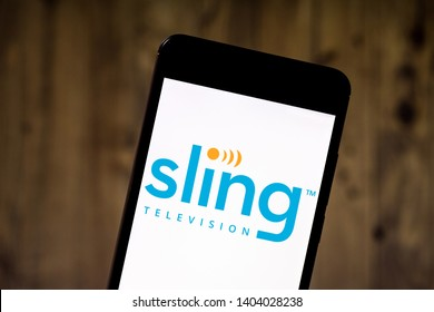 May 21, 2019, Brazil. In this photo illustration the Sling Television logo is displayed on a smartphone.
