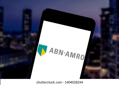 May 21, 2019, Brazil. In this photo illustration the ABN AMRO logo is displayed on a smartphone.