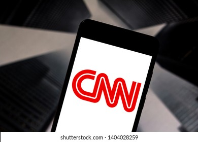 May 21, 2019, Brazil. In this photo illustration the Cable News Network (CNN) logo is displayed on a smartphone.