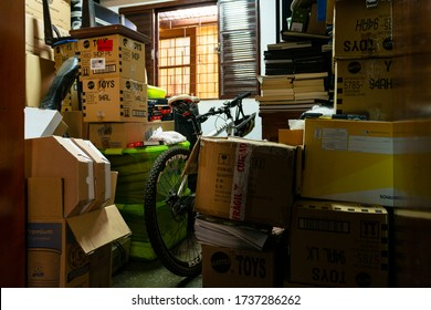 May 21, 2020, Brazil. Several objects stacked in a clutter addict's home room.