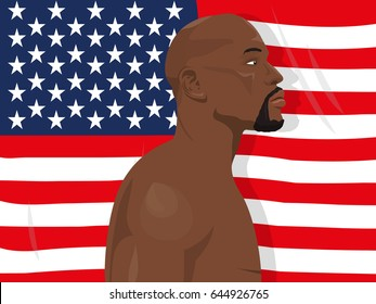 May 22, 2017: illustration of Floyd Mayweather Jr. who is an american former professional boxer and currently boxing promoter on the USA flag background.
