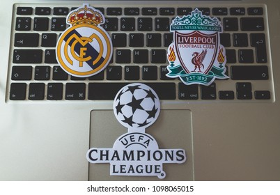 May 22, 2018 Ukraine, Kiev. Emblems of the finalists of the UEFA Champions League season 2017/2018 Spanish Real Madrid and English Liverpool.