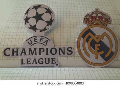 May 22, 2018 Ukraine, Kiev. Emblems of the finalists of the UEFA Champions League season 2017/2018 Spanish Real Madrid.
