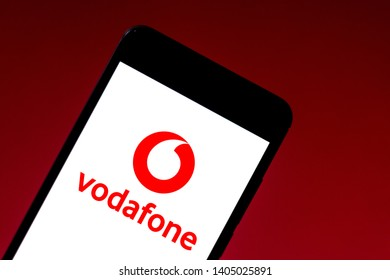 May 22, 2019, Brazil. In this photo illustration the Vodafone logo is displayed on a smartphone.