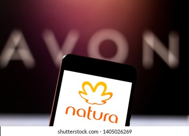 May 22, 2019, Brazil. In this photo illustration the Natura logo is displayed on a smartphone.
