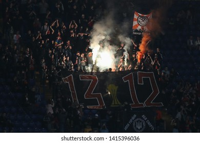 MAY 22, 2019 - KHARKIV, UKRAINE: Pyro and fire show on the stands by FC Shakhtar ultras and fans. Shakhtar Donetsk - Dynamo Kyiv.