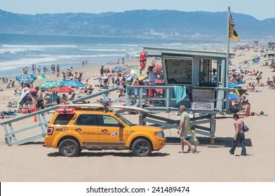MAY 22ND, 2011- MANHATTAN BEACH, CA:Lifeguard tower overseeing beachgoers in Manhatttan Beach, California.