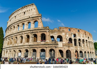 May 23, 2015 Rome, Italy: Magnificent view of famous Roman Colosseum exterior in Rome Italy
