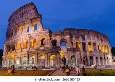 May 23, 2015 Rome, Italy: Magnificent view of famous Roman Colosseum during evening exterior in Rome Italy
