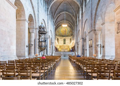 May 23, 2016, Lund, Sweden, Interior of Lund Cathedral, towards the apse and high altar
