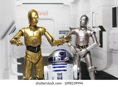 MAY 23 2018: Recreation of the opening scene of Star Wars A New Hope with droids C3P0, U3P0 and R2D2 on the Tantive IV during the imperial attack.  Hasbro Black Series action figures