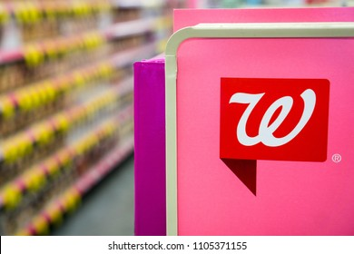 May 23, 2018 Sunnyvale / CA / USA - Walgreens' logo inside one of the stores