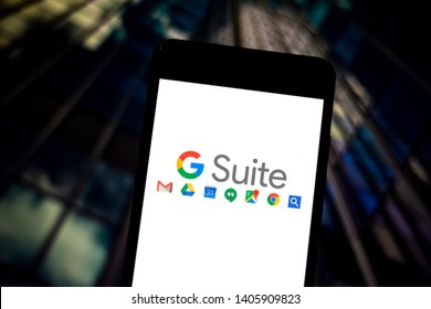 May 23, 2019, Brazil. In this photo illustration the G Suite logo is displayed on a smartphone.