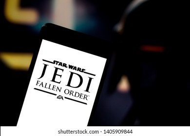 May 23, 2019, Brazil. In this photo illustration the Star Wars Jedi: Fallen Order logo is displayed on a smartphone.