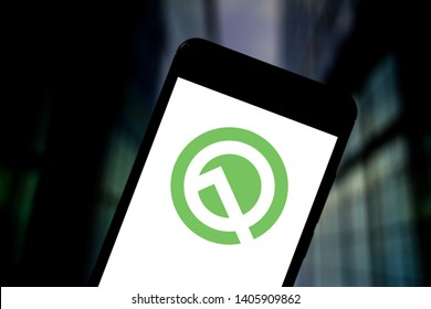 May 23, 2019, Brazil. In this photo illustration the Android Q logo is displayed on a smartphone.
