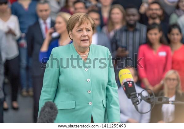 May 23, 2019 - Rostock: German Chancellor Angela Merkel at a press conference
