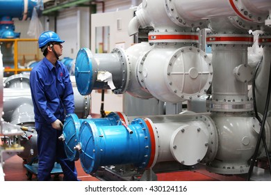 MAY 24, 2016 : XIAN - CHINA : Under factory acceptance testing of Gas Insulated switch-gear for Extra high voltage electrical power. ( GIS )