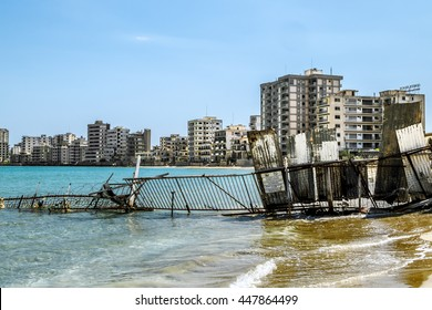 May 24, 2016.Famagusta.Abandoned hotels  and the beach at Varosha in Famagusta .Northern Cyprus.
