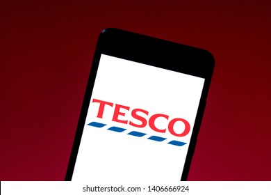 May 24, 2019, Brazil. In this photo illustration the Tesco logo is displayed on a smartphone.