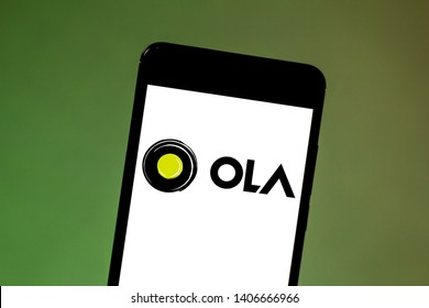 May 24, 2019, Brazil. In this photo illustration the Ola Cabs logo is displayed on a smartphone.