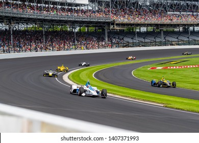 May 24, 2019 Indianapolis, IN: FELIX ROSENQVIST (R) (10) of Sweden prepares to practice for the Indianapolis 500 at Indianapolis Motor Speedway in Indianapolis, Indiana.