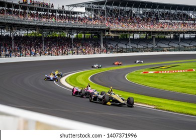 May 24, 2019 Indianapolis, IN: MARCUS ERICSSON (R) (7) of Sweden  heads through the turns to practice for the Indianapolis 500 at Indianapolis Motor Speedway in Indianapolis, Indiana.