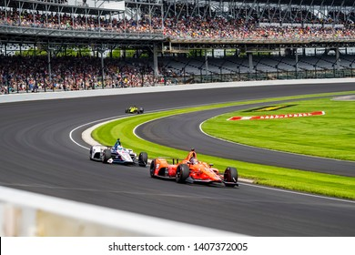 May 24, 2019 Indianapolis, IN: MARCO Andretti (98) of the United States heads through the turns to practice for the Indianapolis 500 at Indianapolis Motor Speedway in Indianapolis, Indiana.