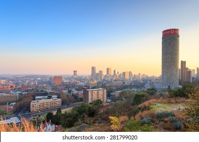 MAY 24: Cityscape of Johannesburg and Ponte City Building at sunset. May 24, 2015 in Johannesburg ,South Africa: Ponte City is a famous skyscraper in the Hillbrow neighbourhood of Johannesburg