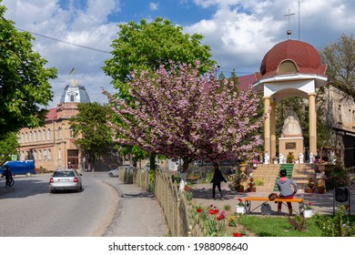 May 25, 2021 Berehove city, Transcarpathia, Ukraine. Ukrainian flag and coat of arms on a house on Tomasz Ese Street in Beregovo, Ukraine.