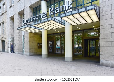Düsseldorf,GERMANY- MAY 25,2018:DEUTSCHE Bank.Deutsche Bank AG is a German global banking and financial services company with its headquarters in Frankfurt.