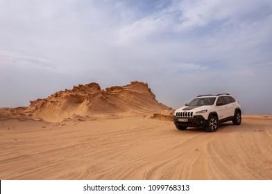 May 25th 2018, Abu Dhabi UAE, A Jeep Cherokee car tackling Al Wathba deserts famous for its natural sand sculptures