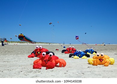 May 26, 2013 - Wildwood, New Jersey, USA:  Whimsical, inflatable crab kites crawl along the beach at the Wildwoods International Kite Festival.