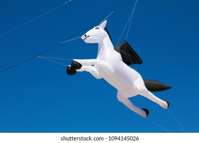 May 26, 2013 - Wildwood, NJ, USA: An inflatable Pegasus show-kite floats in the sky at the Wildwoods International Kite Festival.