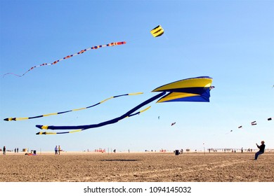 May 26, 2013 - Wildwood, NJ, USA: A man struggles to control an enormous kite at the annual Wildwoods International Kite Festival in Wildwood, New Jersey.