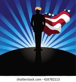 MAY 26, 2016: Illustrative editorial cartoon of Donald Trump as a super hero.