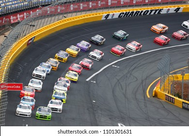 May 26, 2018 - Concord, North Carolina, USA: Brad Keselowski (22) and Tyler Reddick (9) lead the field during the Alsco 300 at Charlotte Motor Speedway in Concord, North Carolina.