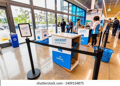 May 26, 2019 Emeryville / CA / USA - Checkout area in the newest Decathlon Sporting Goods flagship store, the first open in the San Francisco bay area, near Oakland