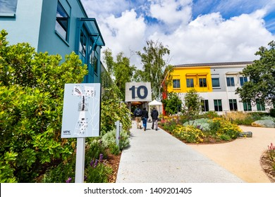 May 26, 2019 Menlo Park / CA / USA - Entrance in the Facebook campus, located in Silicon Valley