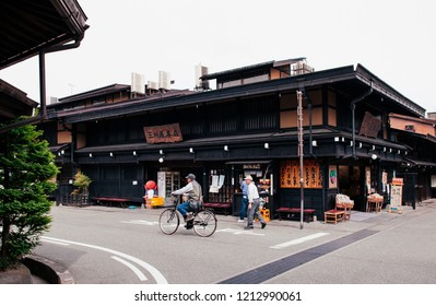 MAY 27, 2013 Takayama ,Gifu, Japan - Old vintage local shop nice wooden exterior of Sanmachi Suji old Edo district, famous shopping and tourist attraction of Takayama old town.