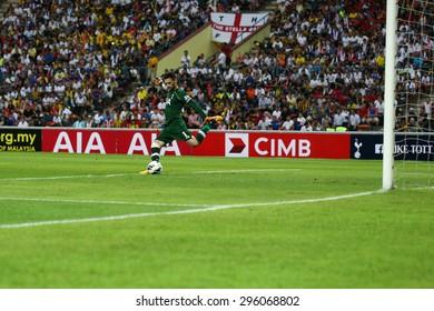 May 27, 2015 - Shah Alam, Malaysia: Tottenham Hotspur's captain and goalkeeper Hugo Lloris takes a goal kick in a friendly match in Malaysia. Tottenham Hotpsur is on a Asia-Australia tour.