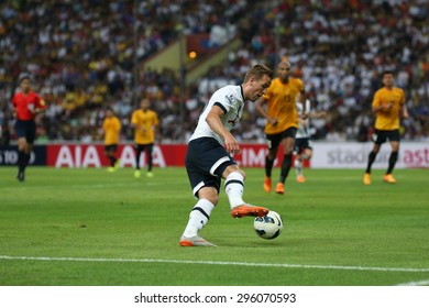 May 27, 2015- Shah Alam, Malaysia: Tottenham Hotspur's striker Harry Kane (18) dribbles the ball in the friendly match against the Malaysian Team. Tottenham Hotspur is on a Asia-Australia tour.