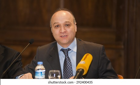 MAY 27, 2015-ISTANBUL,TURKEY. General manager of turkish stock exchange ''Borsa Istanbul'' , Tuncay Dinc posing to press.