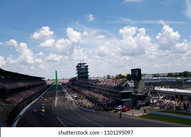 May 27, 2018 - Indianapolis, Indiana, USA: The Verizon IndyCar teams take the green flag for the IndyCar Grand Prix at Indianapolis Motor Speedway Road Course in Indianapolis, Indiana.