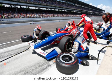 May 27, 2018 - Indianapolis, Indiana, USA: MATHEUS LEIST (4) of Brazil comes down pit road for service during the Indianapolis 500 at the Indianapolis Motor Speedway in Indianapolis, Indiana.