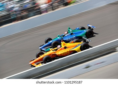 May 27, 2018 - Indianapolis, Indiana, USA: ZACH VEACH (26) of the United Stated battles for position during the Indianapolis 500 at the Indianapolis Motor Speedway in Indianapolis, Indiana.