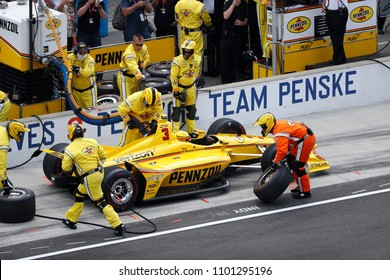 May 27, 2018 - Indianapolis, Indiana, USA: HELIO CASTRONEVES (3) of Brazil comes down pit road for service during the Indianapolis 500 at the Indianapolis Motor Speedway in Indianapolis, Indiana.