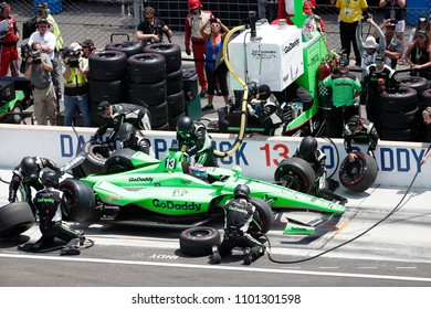 May 27, 2018 - Indianapolis, Indiana, USA: DANICA PATRICK (13) of the United States comes down pit road for service at the Indianapolis 500 at the Indianapolis Motor Speedway in Indianapolis, Indiana.